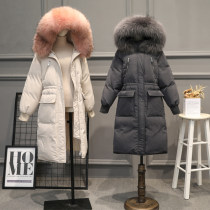 Down Jackets Winter of 2018 Jane's XLSML White duck down 50% Medium length Long sleeves thickening zipper Hood commute routine Straight cylinder Solid color zs20180730 150g (including) - 200g (excluding) Korean version Hairy collar Memory fabric Pure e-commerce (online only)