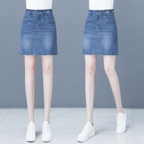 skirt Spring 2021 26 27 28 29 30 31 32 blue Short skirt commute High waist Denim skirt Solid color Type A 25-29 years old YZC1827XZDLH 51% (inclusive) - 70% (inclusive) Denim The creation of clothing cotton Pocket zipper scratch white Korean version Pure e-commerce (online only)