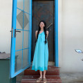 Dress Spring 2021 Blue green S,M,L Mid length dress singleton  Sleeveless High waist Solid color Socket Irregular skirt Oblique shoulder 18-24 years old Type A cotton