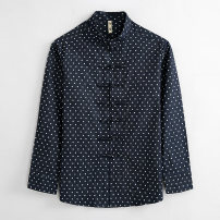 shirt Fashion City Xuansheng S M L XL XXL XXXL Navy Blue routine stand collar Long sleeves easy Other leisure spring Xs168033 wave point youth Cotton 100% Business Casual 2021 Dot Spring 2021 washing cotton printing Exclusive payment of tmall More than 95%