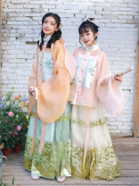 Hanfu 96% and above polyester fiber Hualian in Han Dynasty HZQ168-3 Pure e-commerce (online sales only) XS S M L XL Shuangsi Mingzhi suit (green + Orange) Shuangsi Mingzhi suit (Beige + pink)