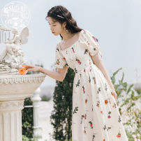 Dress Summer 2021 Apricot S,M,L,XL Mid length dress singleton  Short sleeve commute square neck High waist Broken flowers Socket A-line skirt other 18-24 years old Type A Korean version Lace up, printed 31% (inclusive) - 50% (inclusive) brocade cotton