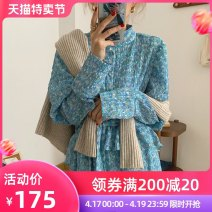 Dress Spring 2021 Blue dress S M L XL longuette singleton  Long sleeves commute Crew neck High waist Broken flowers Socket A-line skirt routine Others 18-24 years old Moonlight Korean version printing More than 95% Chiffon other Other 100% Pure e-commerce (online only)