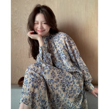 Dress Spring 2021 Floral Dress S M L XL longuette singleton  Long sleeves commute stand collar Loose waist Solid color Socket A-line skirt routine Others 18-24 years old Moonlight Korean version printing More than 95% other Other 100% Pure e-commerce (online only)