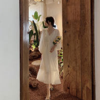 Dress Spring 2021 S M L XL longuette singleton  Long sleeves commute V-neck Loose waist Solid color Socket A-line skirt routine Others 18-24 years old Moonlight Korean version Embroidery More than 95% other Other 100% Pure e-commerce (online only)
