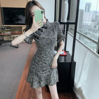 Dress Summer 2020 Black Floral pieces Pink Floral pieces S M L XL Short skirt singleton  Short sleeve commute High waist Broken flowers Socket Ruffle Skirt Others 25-29 years old Type A The phantom of Yixiang Lotus leaf edge G0902 81% (inclusive) - 90% (inclusive) Chiffon polyester fiber