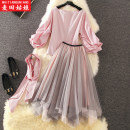 Dress Spring of 2019 Two piece red stripe set S M L XL Mid length dress Two piece set Long sleeves commute One word collar middle-waisted stripe Socket Big swing Others 25-29 years old Maiden in the Rye Korean version 51% (inclusive) - 70% (inclusive) other polyester fiber Polyester 60% other 40%