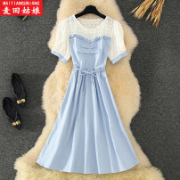 Dress Summer 2021 Blue white black S M L longuette Fake two pieces Short sleeve commute Crew neck High waist Solid color Socket A-line skirt puff sleeve Others 18-24 years old Maiden in the Rye Korean version Splicing 8611 71% (inclusive) - 80% (inclusive) other polyester fiber