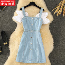 Dress Summer 2021 cowboy S M L Short skirt Fake two pieces Short sleeve commute One word collar High waist Solid color Socket A-line skirt routine camisole 18-24 years old Maiden in the Rye Korean version Button Style 993 71% (inclusive) - 80% (inclusive) Denim polyester fiber Polyester 73% other 27%