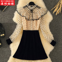 Dress Summer 2021 Apricot S M L XL 2XL Short skirt Fake two pieces Long sleeves commute stand collar High waist Dot Socket A-line skirt routine Others 18-24 years old Maiden in the Rye Korean version Splicing 71% (inclusive) - 80% (inclusive) polyester fiber Polyester 75% other 25%