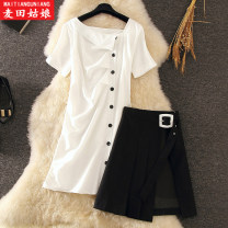Dress Summer of 2019 S M L XL 2XL Mid length dress Two piece set Short sleeve commute square neck High waist Solid color Single breasted A-line skirt routine Others 25-29 years old Maiden in the Rye lady 81% (inclusive) - 90% (inclusive) other polyester fiber Polyester 86% others 14%