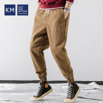 Casual pants KILO METERS Youth fashion Black Khaki M L XL 3XL XXL routine trousers Other leisure Straight cylinder No bullet K649J33012 summer teenagers tide 2019 middle-waisted Straight cylinder Cotton 98.7% polyurethane elastic fiber (spandex) 1.3% Sports pants Summer of 2019