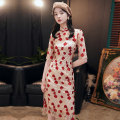 cheongsam Summer 2020 S M L XL XXL XXXL Short sleeve long cheongsam Retro High slit daily Oblique lapel Big flower 18-25 years old Embroidery Mashed wheat other Other 100% Pure e-commerce (online only) 96% and above