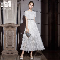 Dress / evening wear Party company annual meeting daily appointment S M L XL XXL white fashion longuette middle-waisted Summer 2020 A-line skirt U-neck zipper spandex 18-25 years old G2035# Short sleeve Nail bead Solid color Gong Geli routine Pure e-commerce (online only) 96% and above