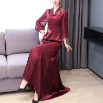 Middle aged and old women's wear Autumn 2020 claret M L XL 2XL 3XL 4XL ethnic style Dress Self cultivation singleton  40-49 years old moderate V-neck pagoda sleeve Daoyi other Other 100% 96% and above Pure e-commerce (online only) longuette