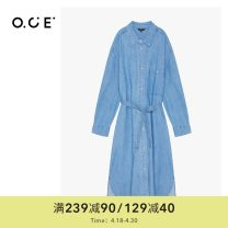 Dress Autumn 2020 Ink blue, light blue S,M,L,XL singleton  Long sleeves commute Polo collar middle-waisted Solid color Socket other routine 25-29 years old even SWNQD07299 cotton