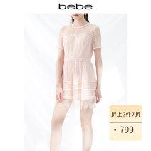 Dress Summer 2020 Lotus root Pink XS S M L Short skirt 25-29 years old bebe B20250070 31% (inclusive) - 50% (inclusive) nylon Polyamide fiber (nylon) 50% viscose fiber (viscose) 50% Same model in shopping mall (sold online and offline)