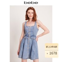 Dress Summer 2021 Denim blue XS S M L Short skirt Sleeveless other middle-waisted other 25-29 years old bebe OB21250004 51% (inclusive) - 70% (inclusive) other cotton Cotton 67% polyester 27% viscose 6% Same model in shopping mall (sold online and offline)