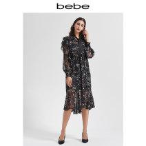 Dress Winter of 2019 Black flower XS S M L Short skirt 25-29 years old bebe More than 95% polyester fiber Polyester 100% Same model in shopping mall (sold online and offline)