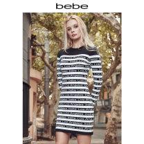 Dress Autumn of 2019 Black / white XS S M L Short skirt 25-29 years old bebe B19350022 31% (inclusive) - 50% (inclusive) nylon Viscose fiber (viscose fiber) 61% polyamide fiber (nylon fiber) 38% polyurethane elastic fiber (spandex fiber) 1% Same model in shopping mall (sold online and offline)