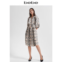 Dress Autumn of 2019 serpentine XS S M L Mid length dress singleton  25-29 years old bebe More than 95% polyester fiber Polyester 100% Same model in shopping mall (sold online and offline)