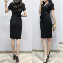Dress Summer of 2019 black S,M,L,XL,2XL Mid length dress singleton  Short sleeve commute V-neck middle-waisted Solid color Socket One pace skirt routine Breast wrapping 25-29 years old Type X Ol style Pleat, pleat 81% (inclusive) - 90% (inclusive) knitting nylon