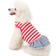 Pet clothing / raincoat currency Dress Dr. Chong princess Red and white stripes black and white stripes