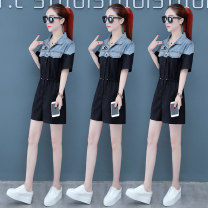 Casual pants Picture color S M L XL Summer 2020 shorts Jumpsuit Natural waist commute routine 96% and above Yan mengrou other Korean version pocket Cotton 100% Pure e-commerce (online only)