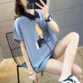 T-shirt Summer of 2019 Short sleeve Polo collar easy Regular routine commute polyester fiber 51% (inclusive) - 70% (inclusive) 18-24 years old Korean version originality Alphabetic characters printing Pure e-commerce (online only)