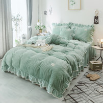 Bedding Set / four piece set / multi piece set Others Quilting Solid color 133x72 Other / other Polyester (polyester fiber) 4 pieces 40 White, gray, green, dark gray, pink, plum red, soy sauce purple, bean paste, pink, light bean paste, water green, green white Bedspread type Superior products velvet