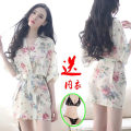 Nightdress Other / other Three points for off white transparent bathrobe suit and three points for black transparent bathrobe suit Average size sexy Short sleeve pajamas Short skirt summer Plants and flowers youth V-neck other printing More than 95% Chiffon LL6 200g and below