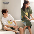 Pajamas / housewear set lovers Beiyan M L XL XXL cotton Short sleeve Cartoon Leisure home summer Thin money Crew neck letter shorts Socket youth rubber string More than 95% Knitted cotton fabric Embroidery D1496 Cotton 100% Summer 2020 Pure e-commerce (online only) longuette