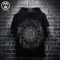 T-shirt Youth fashion routine M,L,XL,2XL,3XL,4XL,5XL,6XL,7XL TREND Short sleeve Hood Self cultivation daily summer Cotton 94% polyurethane elastic fiber (spandex) 6% youth routine tide other 2018 other printing Cotton ammonia Retro nationality No iron treatment Designer brand