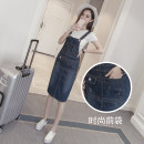 skirt Spring 2021 S M L XL 2XL 3XL 4XL 5XL blue Mid length dress commute High waist A-line skirt Solid color Type A 18-24 years old HSY0202-02 91% (inclusive) - 95% (inclusive) Denim He Shi Yi cotton Asymmetrical strap with open back pocket Korean version Cotton 95% other 5%