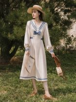 Dress Spring 2021 Apricot S,M,L Mid length dress singleton  Long sleeves commute Admiral High waist Solid color Socket A-line skirt routine Type A Retro Bow, tie, zipper 31% (inclusive) - 50% (inclusive)