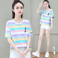 T-shirt Pink purple light orange M L XL 2XL Summer 2021 Short sleeve Crew neck easy have cash less than that is registered in the accounts routine commute cotton 96% and above 25-29 years old Korean version youth Letter thick horizontal stripe Xilan square IUgre1325-48 3D printing stitching