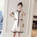 Dress Other / other Pink, beige M,L,XL Korean version Short sleeve Medium length summer Crew neck Lace WS005118