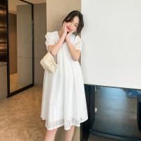 Dress Other / other Black, white M,L,XL Short sleeve Medium length summer Lapel Lace