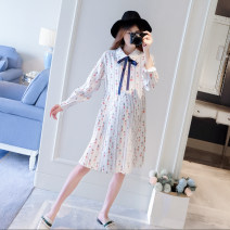 Dress Other / other Picture color dress, Navy Dress, pink coat, cream coat S. M, l, XL, XXL, one size fits all Korean version Long sleeves Medium length autumn stand collar Cartoon animation WS003813
