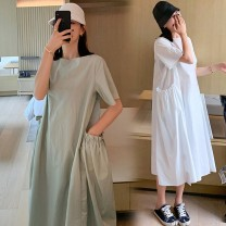 Dress Other / other White, pink M,L,XL,XXL Korean version Short sleeve Medium length summer Crew neck Solid color B832305
