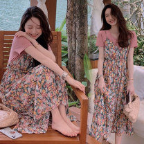 Dress Other / other Pink suit, blue suit M,L,XL,XXL Korean version Short sleeve Medium length summer Decor Chiffon 6876#