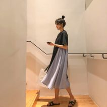 Dress Other / other Black, white M. L, XL, XXL, XXXL, increase XXXL Korean version Short sleeve Medium length summer Crew neck other