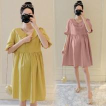 Dress Other / other Pink, yellow M,L,XL,XXL Korean version Short sleeve Medium length summer Lapel Solid color Cotton and hemp B37631