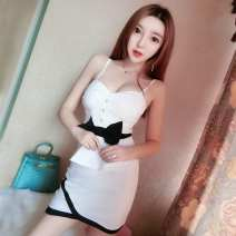 Dress Spring of 2018 White, black Average size Short skirt singleton  Sleeveless commute V-neck High waist Solid color Socket One pace skirt other camisole 18-24 years old Type H Other / other Korean version Bowknot, open back, stitching, asymmetry, button X68717# More than 95% brocade