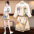 Women's large Summer 2020 Other oversize styles Two piece set commute Self cultivation moderate Cardigan elbow sleeve Hand painted Korean version Polo collar routine Three dimensional cutting other Love of poetry Button Short skirt Other 100% Pure e-commerce (online only) Irregular skirt