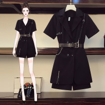 Women's large Summer 2020 Black suit dress Other oversize styles Two piece set commute Self cultivation moderate Cardigan Short sleeve Solid color Korean version Half open collar Medium length Three dimensional cutting routine wh499 Love of poetry Three dimensional decoration Short skirt Other 100%