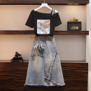 Women's large Summer 2020 Other oversize styles Two piece set commute easy moderate Socket Short sleeve Korean version other routine Three dimensional cutting routine Love of poetry backless Medium length Other 100% Pure e-commerce (online only) Irregular skirt bow