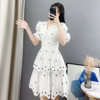 Dress Summer 2021 white S M L XL Middle-skirt singleton  Short sleeve commute V-neck High waist Dot Socket Cake skirt puff sleeve Others 18-24 years old Type A Sally & Lina / mililina lady Embroidery and stitching of ruffles M1671 More than 95% other other Other 100% Pure e-commerce (online only)