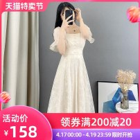 Dress Summer 2021 Apricot S M L XL Mid length dress singleton  Short sleeve commute other High waist Solid color Socket A-line skirt Lotus leaf sleeve Others 18-24 years old Type A Sally & Lina / mililina lady Ruffle button lace M1678 More than 95% other other Other 100% Pure e-commerce (online only)