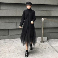 Dress Autumn of 2019 Black sweater + skirt S M L XL longuette Two piece set Long sleeves commute Crew neck middle-waisted Solid color Socket Irregular skirt routine 18-24 years old Sally & Lina / mililina Korean version ML10-9030 More than 95% other Other 100% Pure e-commerce (online only)